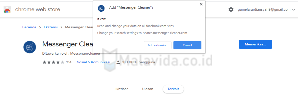 tambah messenger cleaner ke chrome
